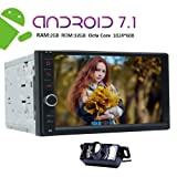 NEW VERSION Android 7.1 Double Din Car Stereo GPS with 8 Cores 2GB RAM 32GB ROM 1024*600 TouchScreen support 4G SIM Card ScreenMirror Bluetooth Steering Wheel Control Front Camera+Backup Camera Includ