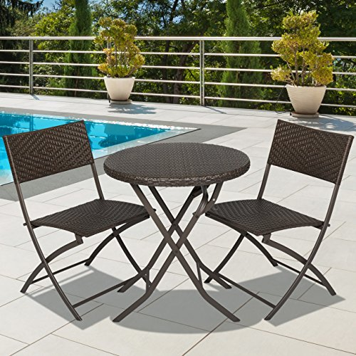 Best choice products 3pc rattan patio bistro set hand for Best deals on patio furniture sets