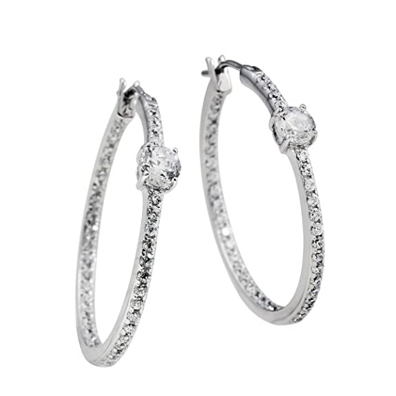 "Diamonfire Women's Creole Earrings Zirconia and 925 Sterling Silver-White Classic Line 62 / 1005 / 1/082 Women ""s"