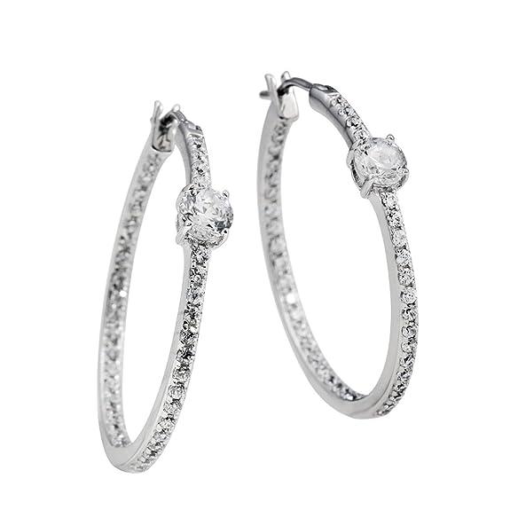 "Diamonfire Women's Creole Earrings Zirconia and 925 Sterling Silver-White Classic Line 62 / 1005 / 1/082 Women ""s"