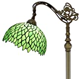 Tiffany Style Reading Floor Lamp Green Wisteria Table Desk Arched Lighting H64 Inch E26 Stained Glass Lampshade for Living Room Antique Desk Beside Bedroom S523 WERFACTORY (Color: Green Floor Lamp W12 Inch H66 Inch)