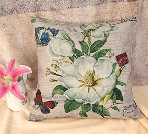 "Euphoria Home Decorative Cushion Covers Pillows Shell Cotton Linen Blend White Floral Post My Miss 18"" X 18"" front-770028"