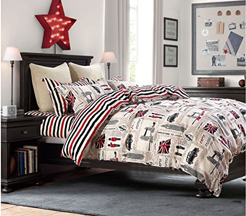 Cliab London Bedding Queen Union Jack Flag Vintage Car Big Ben Tower Bridge England 100% Cotton 7 Pieces (British Flag Bedding compare prices)