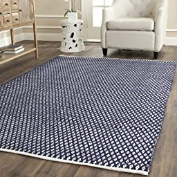 Safavieh Boston Collection BOS685D Handmade Navy Cotton Area Rug, 4 feet by 6 feet (4\' x 6\')
