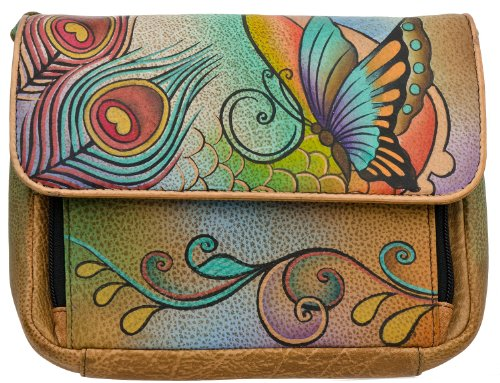 Anuschka Cross Shoulder Small Organizer - Premium Floral Safari (Collage)
