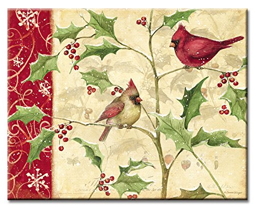 CounterArt Cardinals and Holly Glass Cutting Board, 15 x 12 Inches
