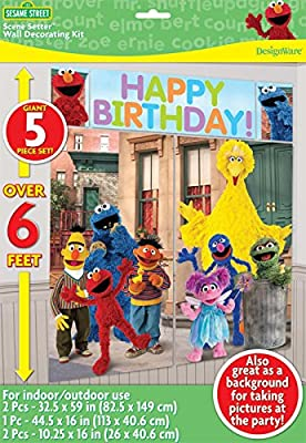 Sesame Street 1st Birthday Party Supplies for 18 Guests This Ultimate Party Pack Includes Invitations, Table Cover, Napkins, Plates, Cups, Wall Decorating Kit, Cake Topper, Stickers, Streamer, Curling Ribbon and Balloons - This Bundle Includes 170 Pieces!
