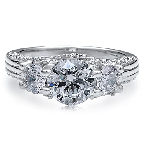 BERRICLE-Sterling-Silver-925-Round-Cubic-Zirconia-CZ-3-Stone-Engagement-Wedding-Ring-Band