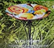 23 Inch Hand Painted Ornate Glass Birdbath - Butterfly and Flowers