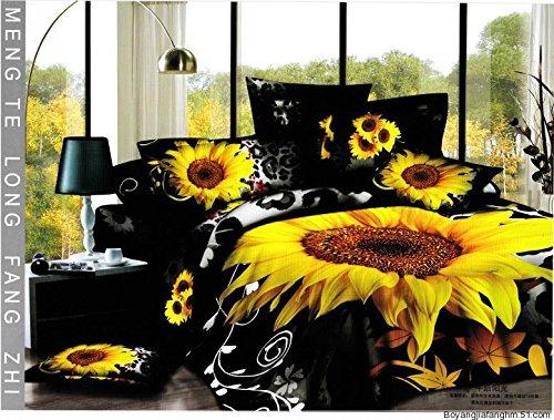 Joybuy Home Textile, 3D Sunflower Bedding Sets High Quality No Fade ,3D Black Bedding Sets 5Pcs Bed Sets,Queen Size Bedding Set,With 3Kg White Queen Size Comforter/Quilt/Duvet