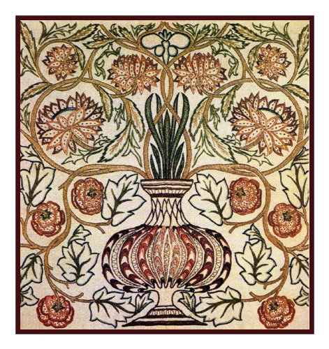 Counted Cross Stitch Chart Flower Pot by Arts and Crafts Movement Founder William Morris