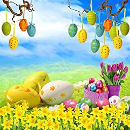 GladsBuy Various Eggs 10\' x 10\' Digital Printing Photography Backdrop Easter Theme Anti-UV Studio Background YHB-147