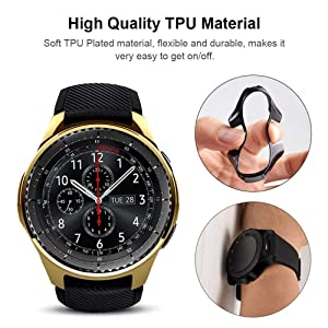 Miimall [2 Pack] Compatible Samsung Galaxy Watch 46mm/ Gear S3 Case Cover, Soft TPU Plated Protective Protector Bumper Cover Case for Samsung Gear S3 Frontier/Classic Black and Gold (Color: Samsung Gear S3 / Glaxy Watch 46mm Case Black and Gold, Tamaño: One Size)