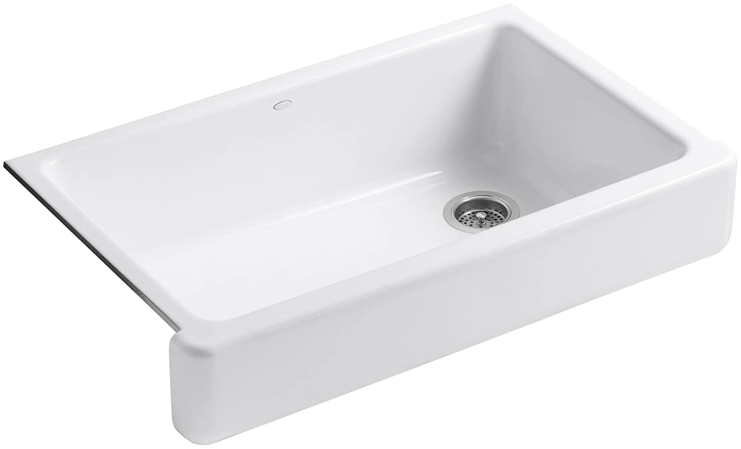 KOHLER K-6488-0 Whitehaven Self-Trimming Cast Iron Apron Front Single Basin Sink with Short Apron, White