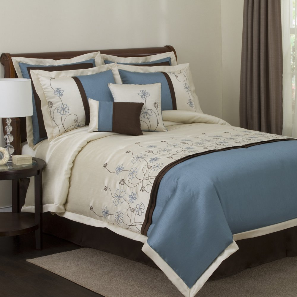Blue Brown Bedding Sets Clearance 8pc Luxury Bedding Set