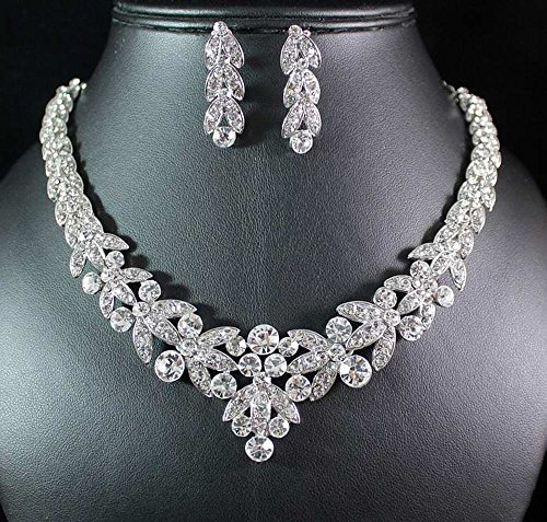 Floral Clear Austrian Rhinestone Crystal Necklace Earrings Set Bridal Prom N1601 Silver