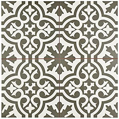 "SomerTile FPEBRKC Stroud Ceramic Floor & Wall Tile, 17.625"" x 17.625"", Charcoal,,, Grey, White"