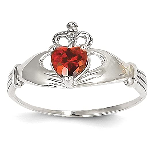 14k White Gold CZ January Birthstone Claddagh Heart Ring