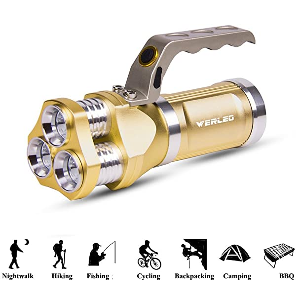 HAMAXA 2800 Lumen Rechargeable Handheld Flashlight LED Searchlight Bright Outdoor Tactical Spotlight IP65 Waterproof CREE T6 Dimmable LED Torch Floodlight Lamp For Camping Lantern Hiking Hunting Black (Color: Gold)