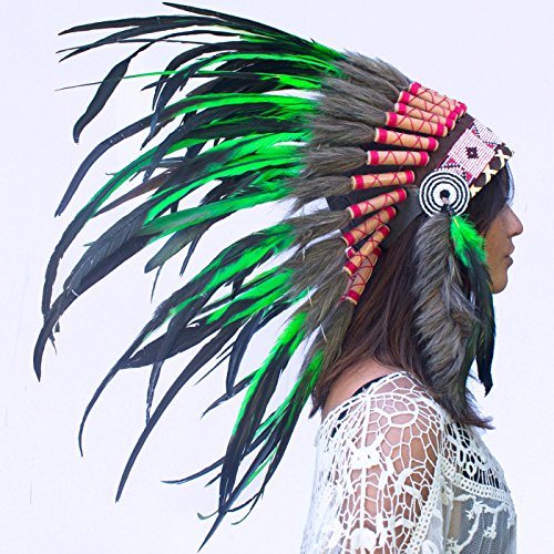 Feather Headdress- Native American Indian Inspired- Handmade by Artisan Halloween Costume for Men Women with Real Feathers - Green Rooster (Steam Iron For Hats compare prices)
