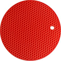 Silicone Coaster RED -4-in-1 Multipurpose Round Pot Holder, Trivet, Jar Opener, & Spoon Rest - Extra Thick