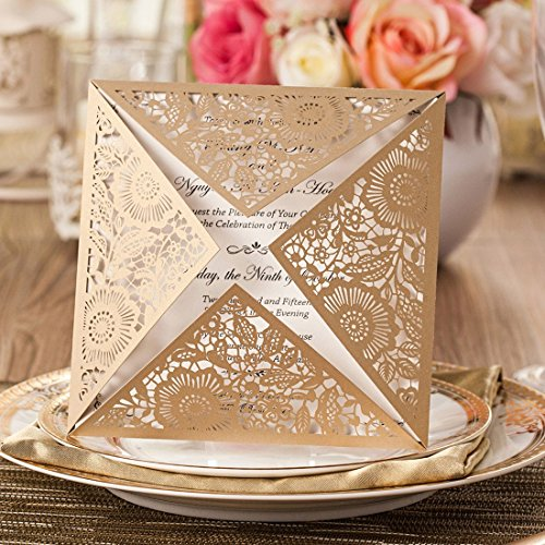 Wishmade 50x Gold Square Laser Cut Wedding Invitations Cards with Lace Flowers Engagement Birthday Bridal Shower Baby Shower Graduation Party Favors(set of 50pcs)CW520GO