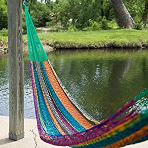 Island Bay Large Hand Woven Mayan Hammock, Multicolored, Nylon, 1 Person