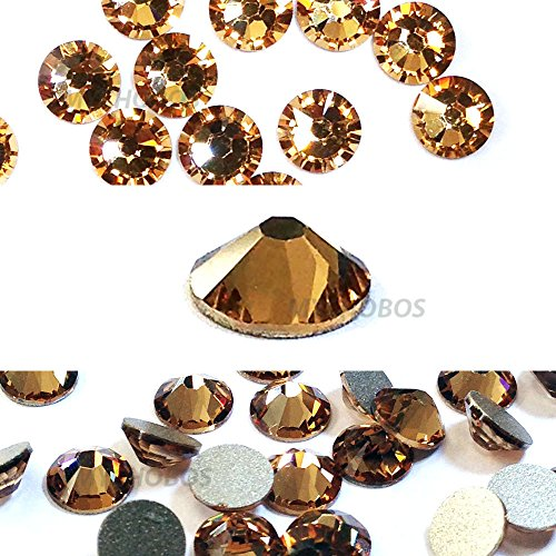 LIGHT COLORADO TOPAZ (246) gold Swarovski NEW 2088 XIRIUS Rose 34ss 7mm flatback No-Hotfix rhinestones ss34 18 pcs (1/8 gross) *FREE Shipping from Mychobos (Crystal-Wholesale)*
