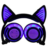 Novelty Cat Ear Rechargeable Bluetooth Headset, Fullfun Foldable LED Glowing Music Lights Earphone for Mobile Phone Pad Computer PC (Purple) (Color: Purple, Tamaño: Approx.180*160*50mm (Min))