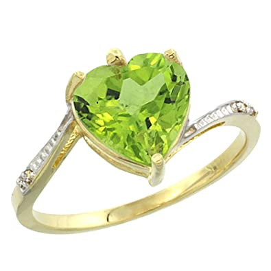 14ct Yellow Gold Natural Peridot Ring Heart 9x9mm Diamond Accent, sizes J - T