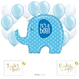 Andaz Press Balloon Party Kit with Gold Ink Signs, It's a Boy Blue Elephant with Baby Blue and White Latex Balloons, 19-Piece Kit (Color: Baby Elephant Boy Shiny)