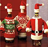 Wine Bottle Cover Set of 2, Winter Wine Decoration, Wine Bottle Dress Knit Sweater, Funny Bottle Topper, Holiday Bottle Clothing, Great Christmas Wine Gift Giving Idea!
