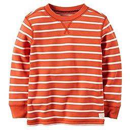 Carter\'s Little Boys\' Striped Thermal Shirt (3T, Orange)