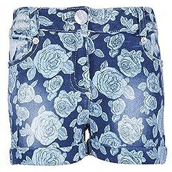 Cutecumber Girls Denim Floral Blue Shorts