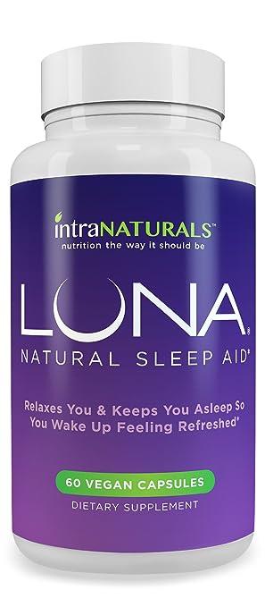 LUNA - #1 Natural Sleep Aid on Amazon - Herbal, Non-Habit Forming Sleeping Pill (Made with Valerian, Chamomile, Passionflower, Lemon Balm, Melatonin & More!) - IntraNaturals Lifetime Guarantee