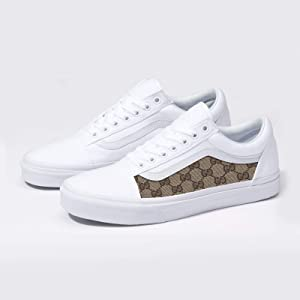 Vans White Old Skool x Gucci Custom Handmade Uni-Sex Shoes By Patch  Collection (Color  White e6cea6bcb
