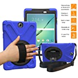 BRAECNstock Galaxy Tab A 9.7 Case Full-Body Shock Proof Hybrid Heavy Duty Armor Protective Case for Samsung Galaxy Tab A 9.7 [SM-T550] Case with Kickstand/Hand Strap/Shoulder Strap (Blue) (Color: Blue)