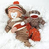 Baby Doll that Looks Real, Sock Monkey Business 16-inch with Weighted Body