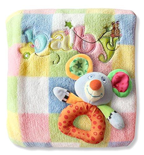 Baby Blanket & Rattle Gift Set for Boys or Girls, Ultra-Soft Fleece 30