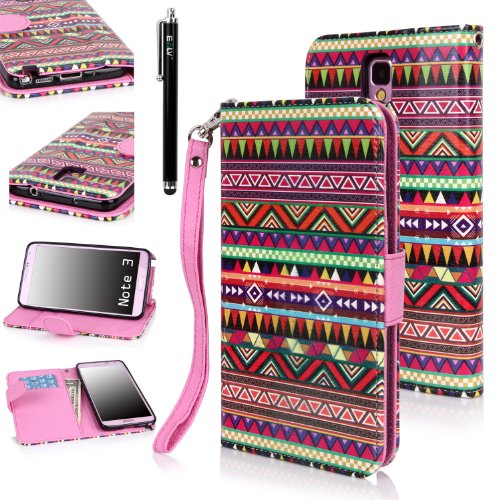E LV Deluxe PU Leather Wallet Case Cover with printed Tribal design for Samsung Galaxy Note 3 with 1 Stylus and 1 Clear Screen Protector