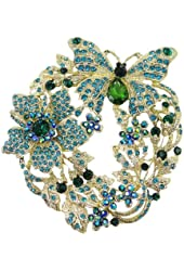 EVER FAITH Butterfly Flower Brooch Pendant Blue Green Austrian Crystal
