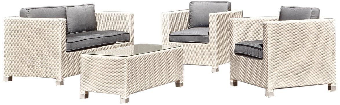Stern 419881 Gruppe Match, Geflecht weiß, 2 Sessel, 1 Sofa, Sitz- und Rückenkissen ecru, 1 Beistelltisch mit Klarglasplatte