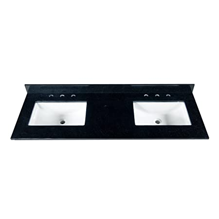 "MAYKKE 61"" Black Granite Bathroom Vanity Top with 8"" Widespread Faucet Holes, Double YSA1126101"