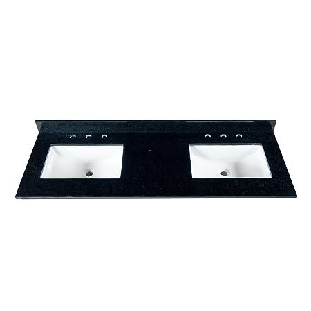 """MAYKKE 61"""" Black Granite Bathroom Vanity Top with 8"""" Widespread Faucet Holes, Double YSA1126101"""