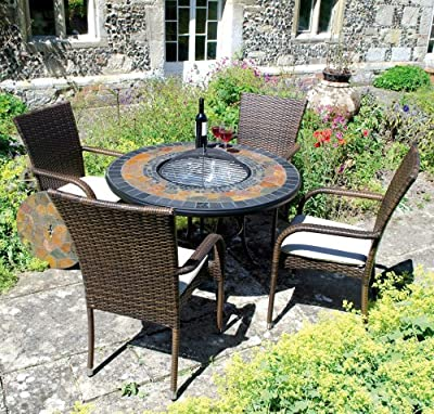 Durango Garden Fire Pit Set - Round Stone Table And 4 Castello Chairs