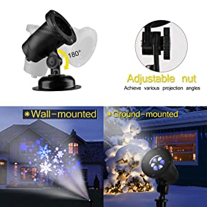 2019 Updated High Brightness Snowstorm Projector Light, Christmas Snowfall LED Light with Rotating White&Blue Snowflake for Indoor/Outdoor Holiday Decorations (Color: Black)