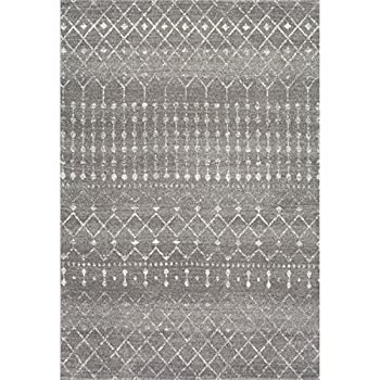 "Traditional Vintage Moroccan trellis Dark Grey Area Rugs, 5 Feet by 7 Feet 5 Inches (5' x 7' 5"")"