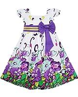 Sunny Fashion Robe Fille Arc Attacher Pourpre Floral Manche Princesse Partie