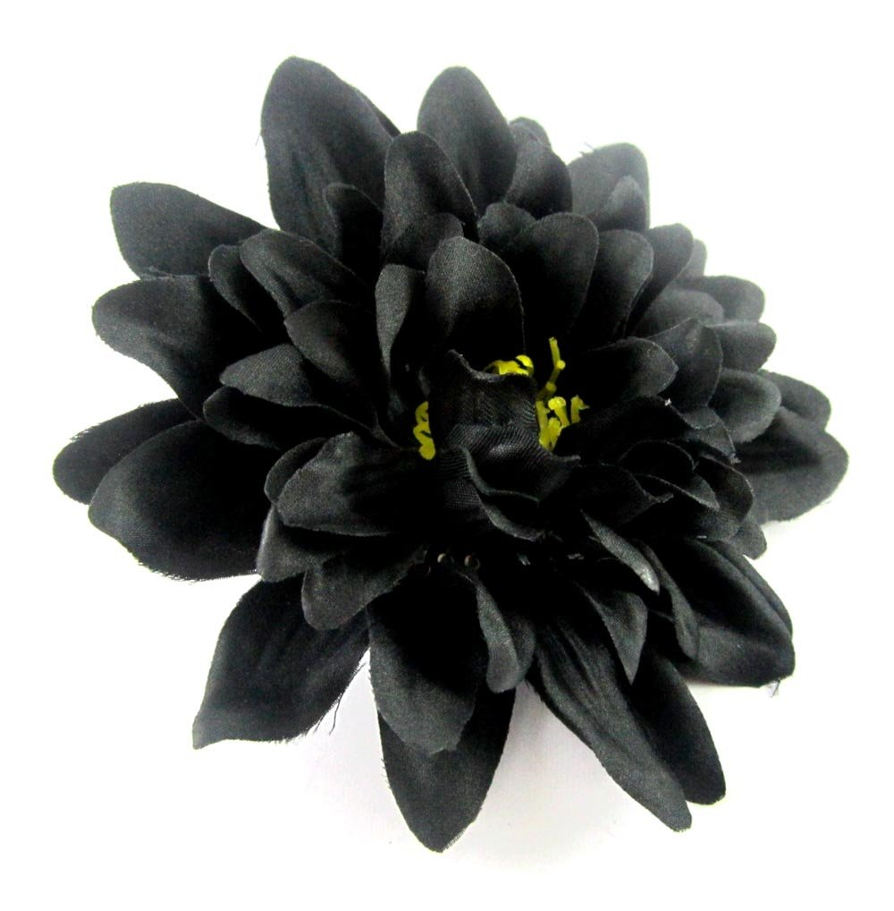 Black To Black Flowers 4: (4) Black Silk Dahlia Flower Heads