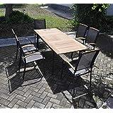 Gartentisch mit einem Gestell aus Aluminium und einer Teakholz Tischplatte, ausziehbar, Maße: B/H/T ca. 152-210/75,5/89 cm